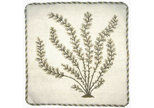 Marestail Seaweed Needlepoint Pillow (Green)