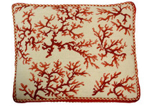 Coral Needlepoint Pillow (Red Rect)