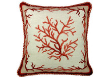 Coral Needlepoint Pillow (Red Square)