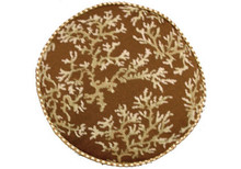 Coral Needlepoint Pillow (Ivory on Brown Round)