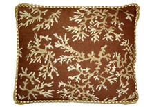 Coral Needlepoint Pillow (Ivory on Brown Rect)