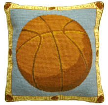 Basketball Needlepoint Pillow