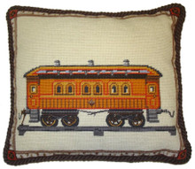 Train Needlepoint Pillow