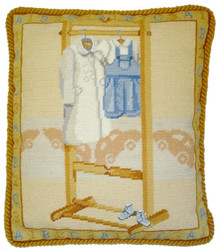 Blue Shortall Needlepoint Pillow