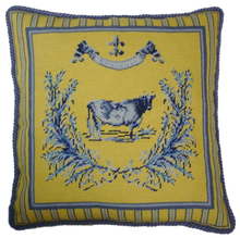 French Country Cow Needlepoint Pillow Yellow