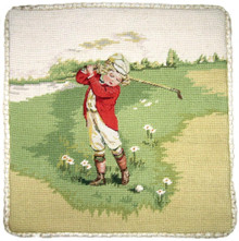 Boy in Red Golf Needlepoint Pillow
