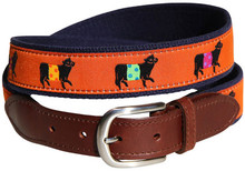 Belted Cow Ribbon Belt (Leather Tab) on Rust