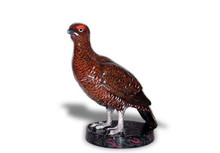 Grouse Standing Hood Ornament with Enamel Finish
