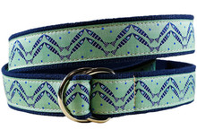 herring bone fish II ribbon belt green