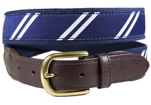rep stripe tab ribbon belt navy & White