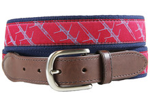 quad crew shell leather tab ribbon belt