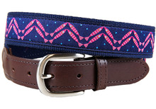 herringbone fish ribbon belt on leather tab on navy