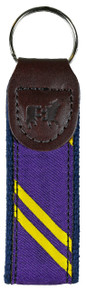Collegiate Stripe Purple and Yellow Key Fob