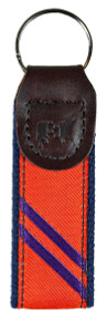Collegiate Stripe Orange and Purple Key Fob