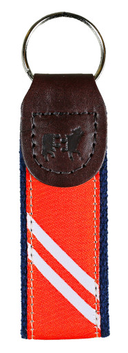Collegiate Stripe Orange and White Key Fob