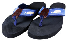 Moby Whale Flip Flops on Blue