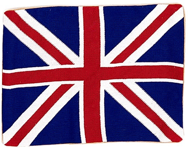 "British Flag Needlepoint Pillow 14""x18"""