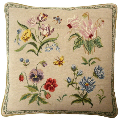 Colorful Flowers Needlepoint Pillow