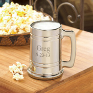 Personalized Gun Metal Beer Mug - Engraved with your husband's name and your wedding date.