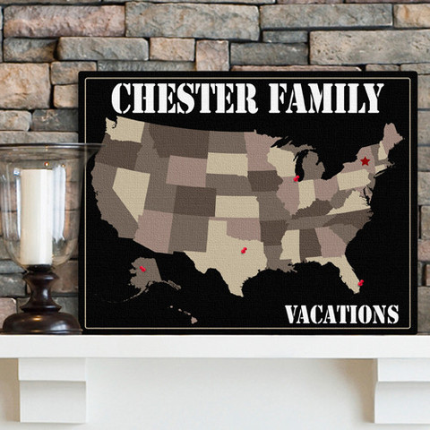 Personalized anniversary vacation map gift for Anniversary destinations in us