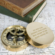 Personalized lovers brass compass and sundial