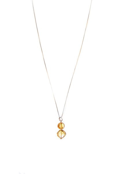 13th Anniversary gemstone necklace - Citrine & Sterling Silver