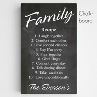 Personalized Family Recipe Canvas in Chalkboard