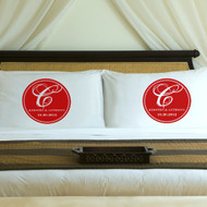 monogrammed couples anniversary pillowcases in red