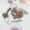 personalized couples keychain in two parts - the heart and the key