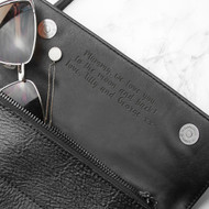 personalized black leather clutch bag