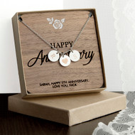 Personalized Happy Anniversary necklace with engraved keepsake