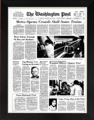 Front page of Washington Post from 2002 framed for your 15th anniversary