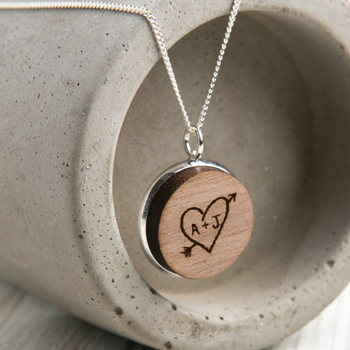 Personalized Sweet heart necklace in wood and silver