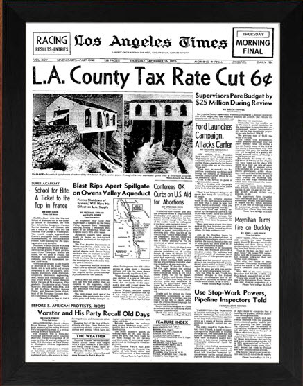 Front page of Los Angeles Times from 1997 framed for your 20th anniversary