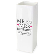 Personalized Mr and Mrs Anniversary vase