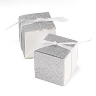Silver Glitter Anniversary Favor Boxes - set of 25