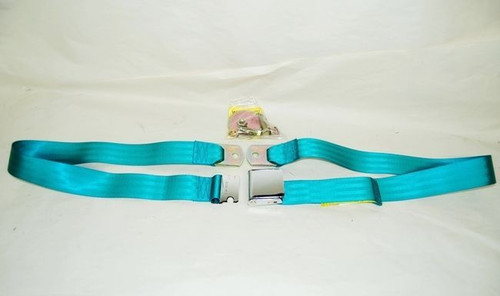 """74"""" TURQUOISE LAP SAFETY SEAT BELT CHROME BUCKLE LATCH"""