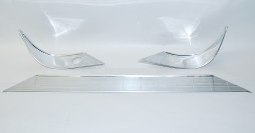 56 1956 CHEVY CUSTOM DASH TRIM SET POLISHED LINES ALUMINUM NO RADIO HOLE 55