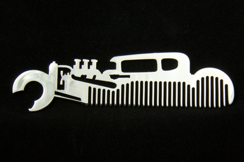 Hot Rat Rod Coupe Polished Stainless Steel Metal Trim Beard Hair Mustache Comb
