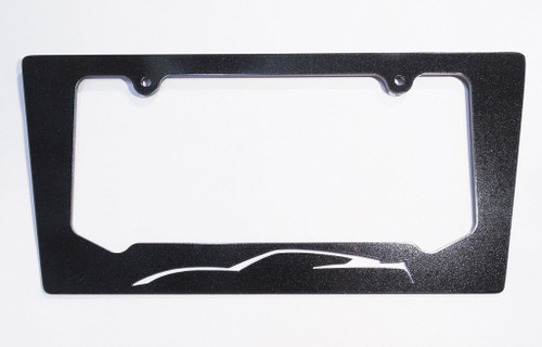 14-17 Corvette C7 Arctic White Silhouette Rear License Plate Frame In Carbon Flash Metallic Black