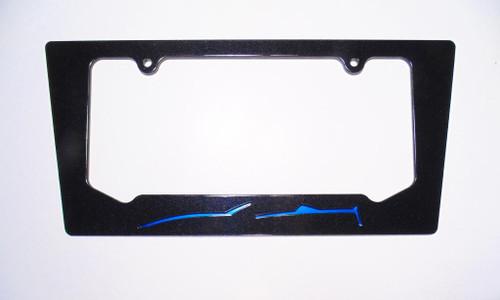 2014-2016 Corvette C7 Convertible Laguna Blue Silhouette Rear License Plate Frame In Carbon Flash Metallic Black