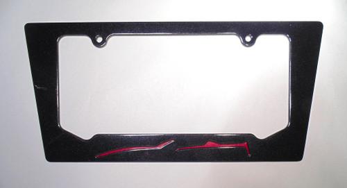 2014-2015 Corvette C7 Convertible Crystal Red Metallic Silhouette Rear License Plate Frame In Carbon Flash Metallic Black