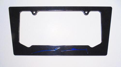 2014-2016 Corvette C7 Convertible Night Race Blue Silhouette Rear License Plate Frame In Carbon Flash Metallic Black