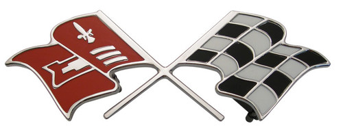 60 1960 Chevy Impala & El Camino 348 V8 Rear Trunk Deck Lid Emblem Cross Flag