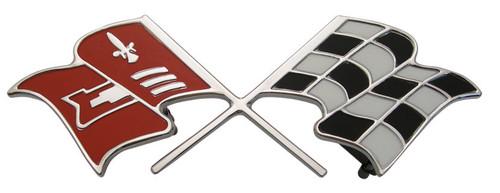 60 1960 Chevy Impala & El Camino 348 V8 Rear Trunk Deck Lid Emblem Cross Flag