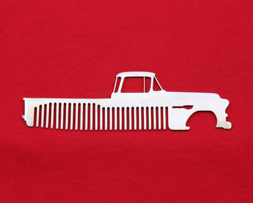 55-59 Chevy Pick Up Brushed Stainless Steel Metal Trim Beard Hair Mustache Comb