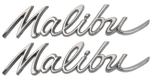 64 1964 CHEVELLE REAR QUARTER MALIBU TRIM EMBLEMS CHROME PAIR