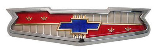 56 58 1956 1958 Chevy V8 Hood Emblem Chrome Assembly New