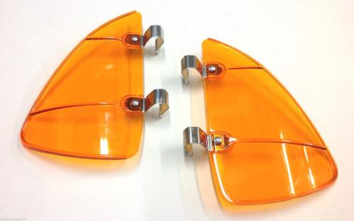 Amber Orange Accessory Vent Wing Window Air Deflector Breeze Breezies Pair