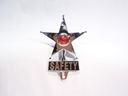 Light Up Amber Dot Vintage Style Safety Star License Plate Ornament Hot Rat Rod
